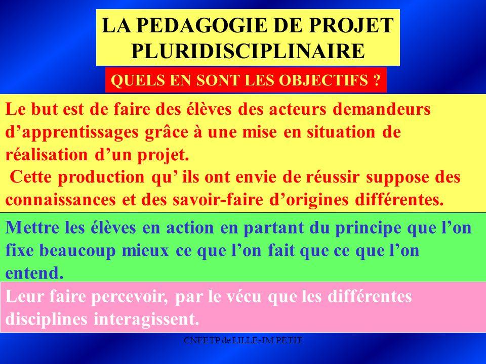 CNFETP de LILLE-JM PETIT LA PEDAGOGIE DE PROJET PLURIDISCIPLINAIRE QUELS EN SONT LES OBJECTIFS .