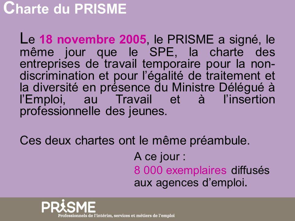 L e 18 novembre 2005, le PRISME a signé, le même jour que le SPE, la charte des entreprises de travail temporaire pour la non- discrimination et pour légalité de traitement et la diversité en présence du Ministre Délégué à lEmploi, au Travail et à linsertion professionnelle des jeunes.