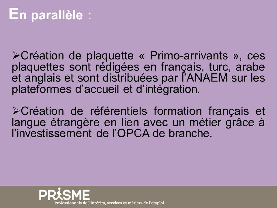 E n parallèle : Création de plaquette « Primo-arrivants », ces plaquettes sont rédigées en français, turc, arabe et anglais et sont distribuées par lANAEM sur les plateformes daccueil et dintégration.