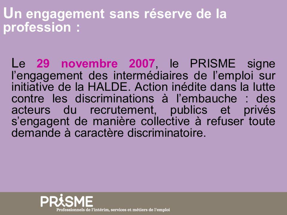 U n engagement sans réserve de la profession : L e 29 novembre 2007, le PRISME signe lengagement des intermédiaires de lemploi sur initiative de la HA