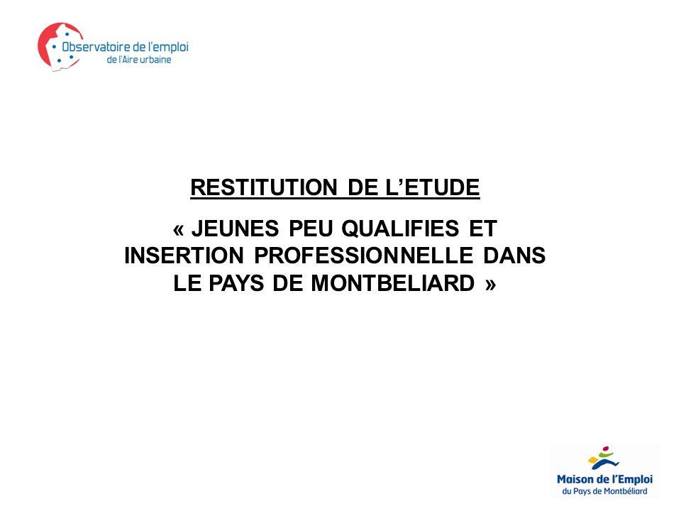 RESTITUTION DE LETUDE « JEUNES PEU QUALIFIES ET INSERTION PROFESSIONNELLE DANS LE PAYS DE MONTBELIARD »