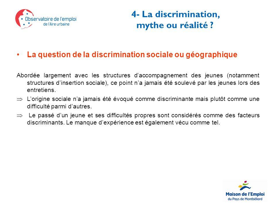 4- La discrimination, mythe ou réalité .