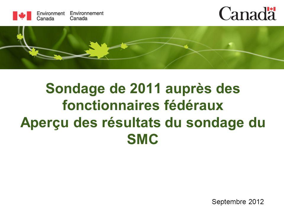 Sondage de 2011 auprès des fonctionnaires fédéraux Aperçu des résultats du sondage du SMC Septembre 2012