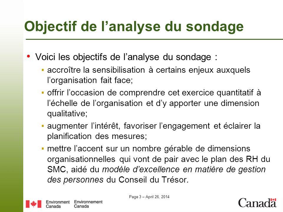 Page 3 – April 26, 2014 Objectif de lanalyse du sondage Voici les objectifs de lanalyse du sondage : accroître la sensibilisation à certains enjeux au