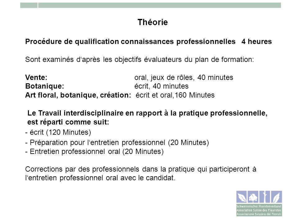 Théorie Procédure de qualification connaissances professionnelles 4 heures Sont examinés daprès les objectifs évaluateurs du plan de formation: Vente: