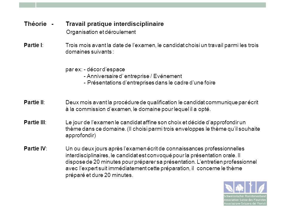 Théorie -Travail pratique interdisciplinaire Organisation et déroulement Partie I: Trois mois avant la date de lexamen, le candidat choisi un travail