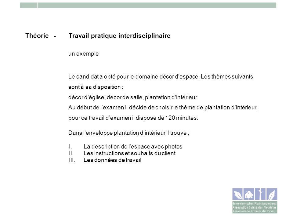 Théorie -Travail pratique interdisciplinaire un exemple Le candidat a opté pour le domaine décor despace. Les thèmes suivants sont à sa disposition :