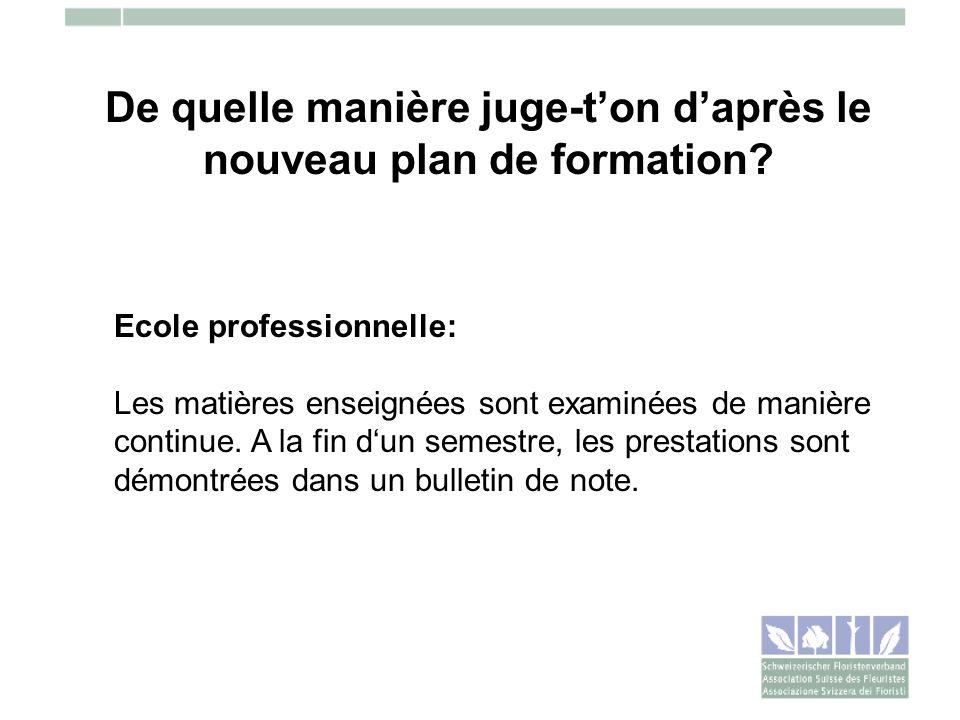 De quelle manière juge-ton daprès le nouveau plan de formation? Ecole professionnelle: Les matières enseignées sont examinées de manière continue. A l