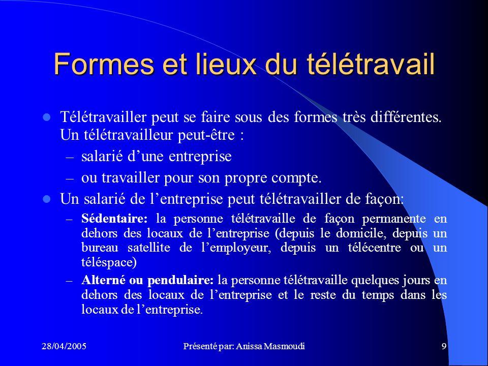 28/04/2005Présenté par: Anissa Masmoudi9 Formes et lieux du télétravail Télétravailler peut se faire sous des formes très différentes.