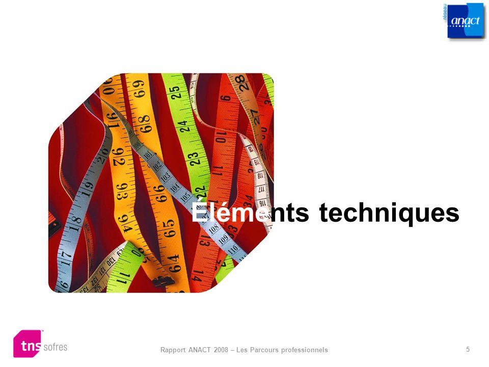 5 Rapport ANACT 2008 – Les Parcours professionnels Éléments techniques