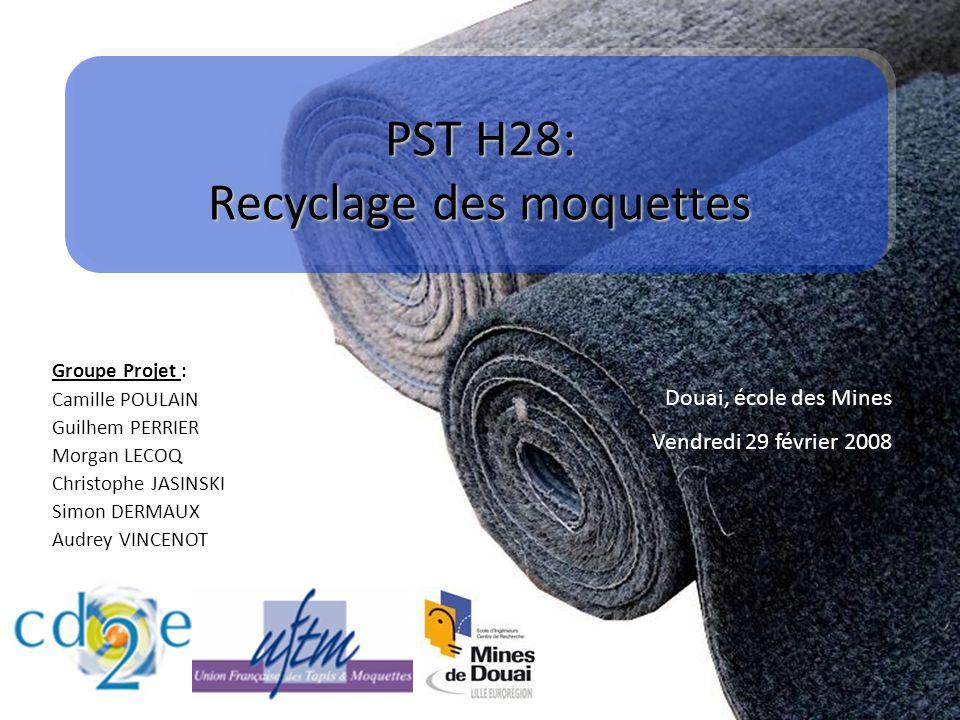 PST H28: Recyclage des moquettes Groupe Projet : Camille POULAIN Guilhem PERRIER Morgan LECOQ Christophe JASINSKI Simon DERMAUX Audrey VINCENOT Douai,
