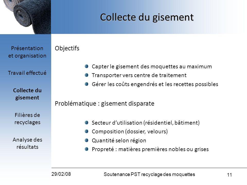 11 29/02/08 Soutenance PST recyclage des moquettes Objectifs Capter le gisement des moquettes au maximum Transporter vers centre de traitement Gérer l