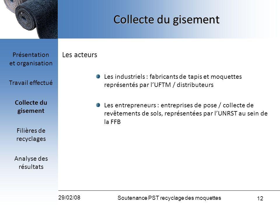 12 29/02/08 Soutenance PST recyclage des moquettes Les acteurs Les industriels : fabricants de tapis et moquettes représentés par lUFTM / distributeur