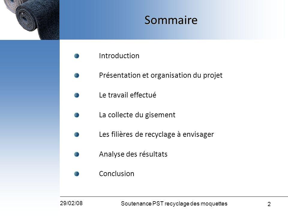 2 29/02/08 Soutenance PST recyclage des moquettes Introduction Présentation et organisation du projet Le travail effectué La collecte du gisement Les
