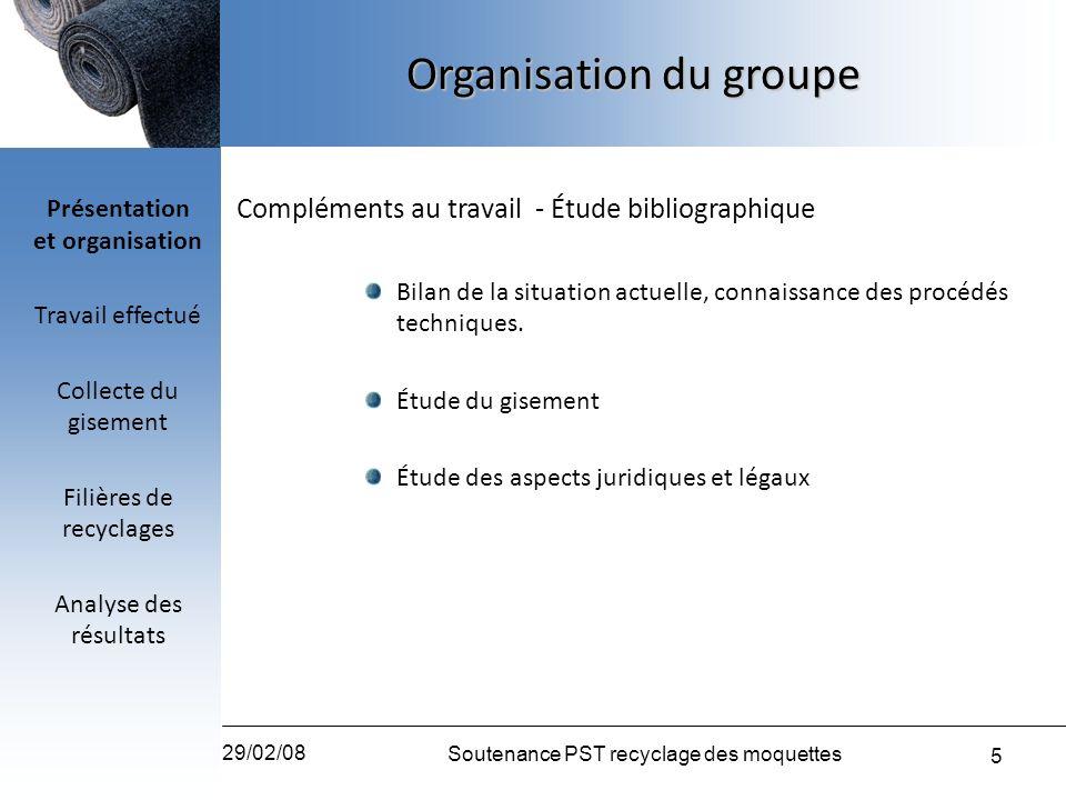 5 29/02/08 Soutenance PST recyclage des moquettes Organisation du groupe Compléments au travail - Étude bibliographique Bilan de la situation actuelle