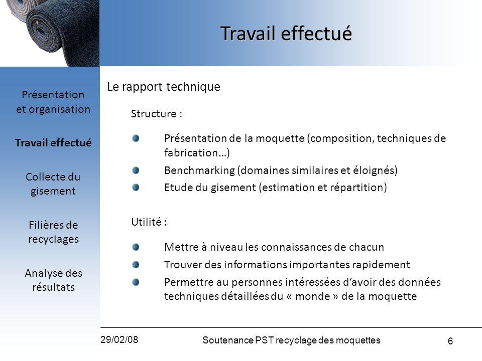 6 29/02/08 Soutenance PST recyclage des moquettes Travail effectué Le rapport technique Structure : Présentation de la moquette (composition, techniqu