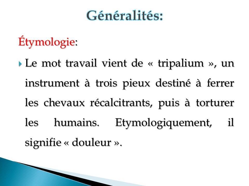 Étymologie: Le mot travail vient de « tripalium », un instrument à trois pieux destiné à ferrer les chevaux récalcitrants, puis à torturer les humains.