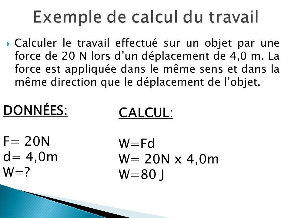 Calculer le travail effectué sur un objet par une force de 20 N lors dun déplacement de 4,0 m.