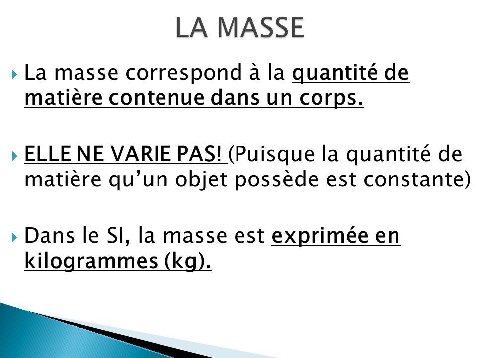 La masse correspond à la quantité de matière contenue dans un corps.