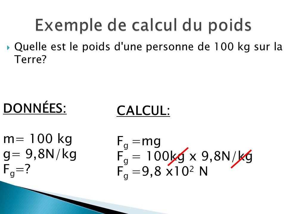 Quelle est le poids d une personne de 100 kg sur la Terre.