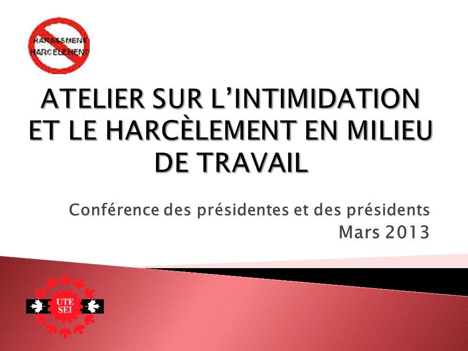 Conférence des présidentes et des présidents Mars 2013