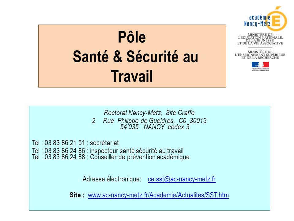 Pôle Santé & Sécurité au Travail Rectorat Nancy-Metz, Site Craffe 2Rue Philippe de Gueldres, C0 30013 54 035 NANCY cedex 3 Tel : 03 83 86 21 51 : secrétariat Tel : 03 83 86 24 86 : inspecteur santé sécurité au travail Tel : 03 83 86 24 88 : Conseiller de prévention académique Adresse électronique: ce.sst@ac-nancy-metz.frce.sst@ac-nancy-metz.fr Site : www.ac-nancy-metz.fr/Academie/Actualites/SST.htm www.ac-nancy-metz.fr/Academie/Actualites/SST.htm