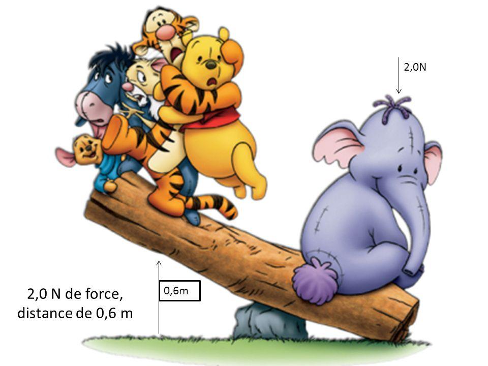 2,0 N de force, distance de 0,6 m 0,6m 2,0N