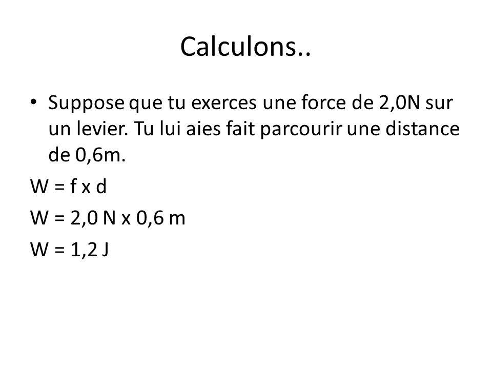 Calculons.. Suppose que tu exerces une force de 2,0N sur un levier. Tu lui aies fait parcourir une distance de 0,6m. W = f x d W = 2,0 N x 0,6 m W = 1