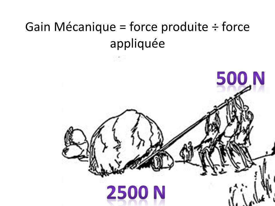 Gain Mécanique = force produite ÷ force appliquée