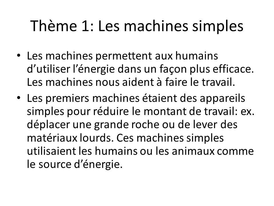 Thème 1: Les machines simples Les machines permettent aux humains dutiliser lénergie dans un façon plus efficace. Les machines nous aident à faire le