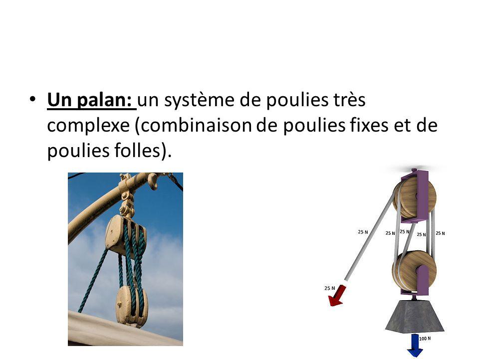 Un palan: un système de poulies très complexe (combinaison de poulies fixes et de poulies folles).