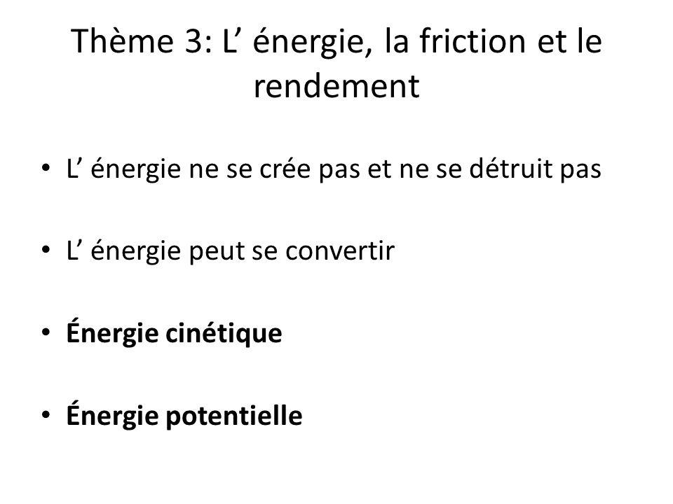 Thème 3: L énergie, la friction et le rendement L énergie ne se crée pas et ne se détruit pas L énergie peut se convertir Énergie cinétique Énergie po