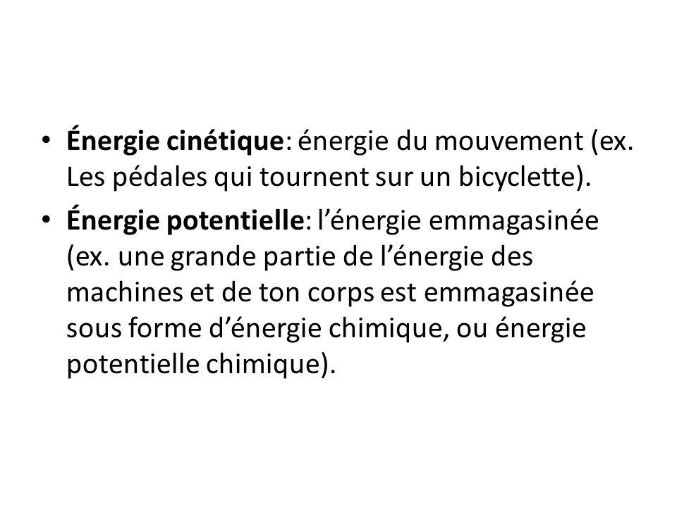 Énergie cinétique: énergie du mouvement (ex. Les pédales qui tournent sur un bicyclette). Énergie potentielle: lénergie emmagasinée (ex. une grande pa