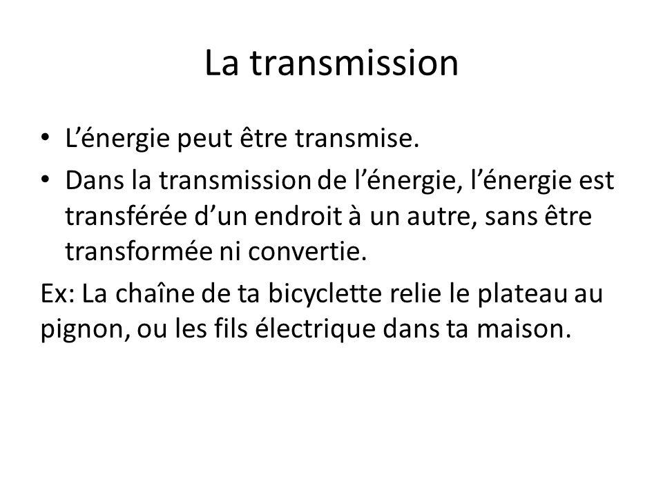 La transmission Lénergie peut être transmise. Dans la transmission de lénergie, lénergie est transférée dun endroit à un autre, sans être transformée