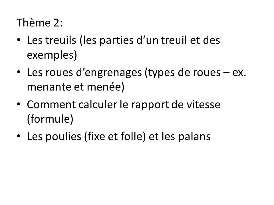 Thème 2: Les treuils (les parties dun treuil et des exemples) Les roues dengrenages (types de roues – ex. menante et menée) Comment calculer le rappor