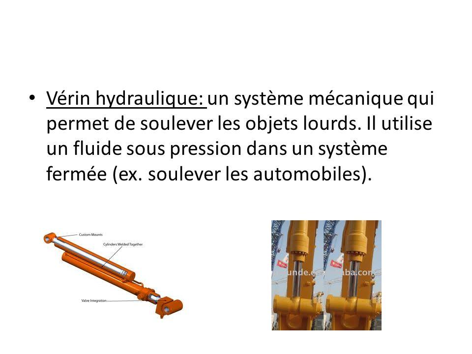Vérin hydraulique: un système mécanique qui permet de soulever les objets lourds. Il utilise un fluide sous pression dans un système fermée (ex. soule