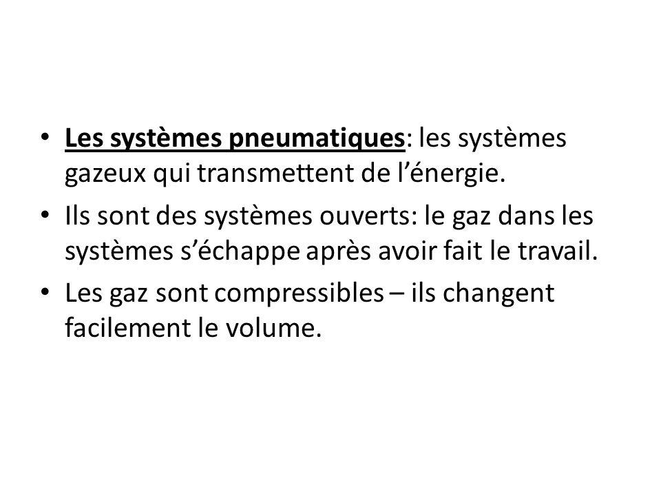Les systèmes pneumatiques: les systèmes gazeux qui transmettent de lénergie. Ils sont des systèmes ouverts: le gaz dans les systèmes séchappe après av