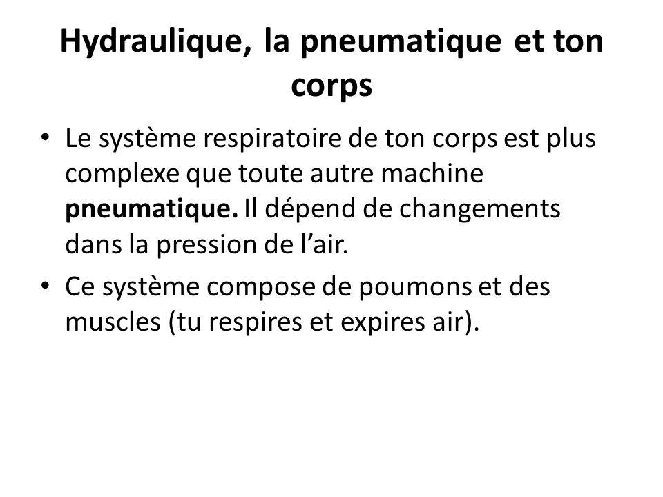Hydraulique, la pneumatique et ton corps Le système respiratoire de ton corps est plus complexe que toute autre machine pneumatique. Il dépend de chan