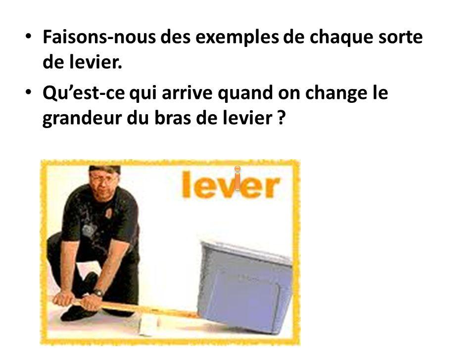 Faisons-nous des exemples de chaque sorte de levier. Quest-ce qui arrive quand on change le grandeur du bras de levier ?