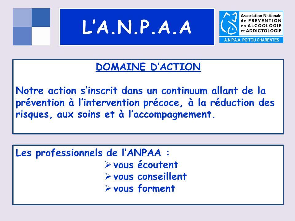 LA.N.P.A.A DOMAINE DACTION Notre action sinscrit dans un continuum allant de la prévention à lintervention précoce, à la réduction des risques, aux soins et à laccompagnement.