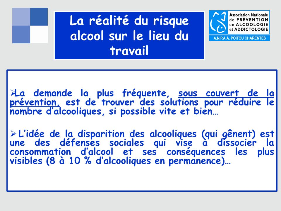 8% 16% 30% 41% 5% Partie visible Partie cachée Alcoolo dépendants Consommateurs à risques datteintes somatiques Consommateurs réguliers Consommateurs Occasionnels Abstinents