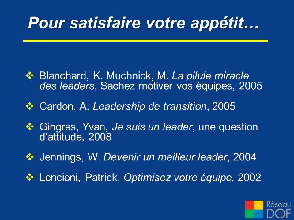 Blanchard, K. Muchnick, M. La pilule miracle des leaders, Sachez motiver vos équipes, 2005 Cardon, A. Leadership de transition, 2005 Gingras, Yvan, Je