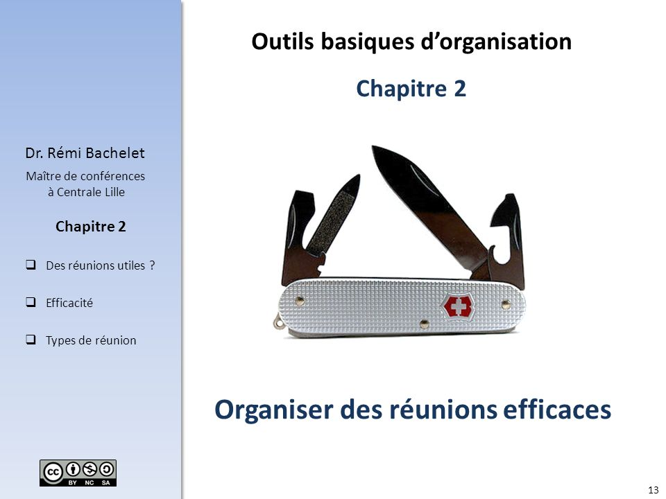 13 Dr. Rémi Bachelet Maître de conférences à Centrale Lille Des réunions utiles ? Efficacité Types de réunion Chapitre 2 Organiser des réunions effica