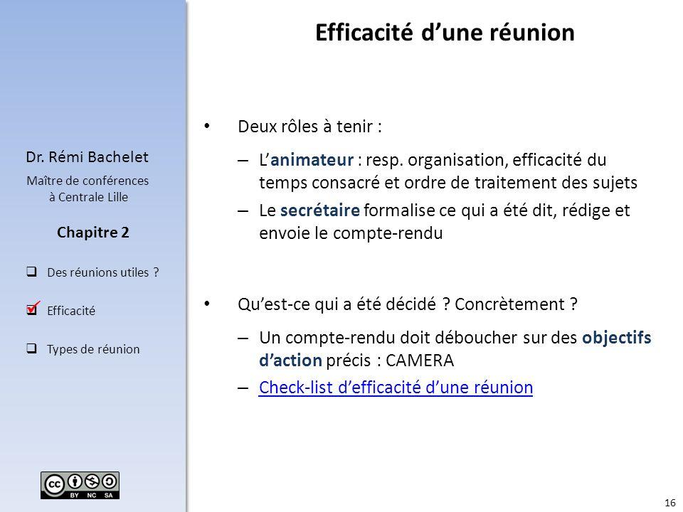 16 Dr. Rémi Bachelet Maître de conférences à Centrale Lille Des réunions utiles ? Efficacité Types de réunion Chapitre 2 Deux rôles à tenir : – Lanima