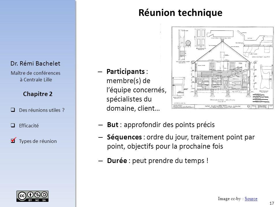 17 Dr. Rémi Bachelet Maître de conférences à Centrale Lille Des réunions utiles ? Efficacité Types de réunion Chapitre 2 Réunion technique – But : app