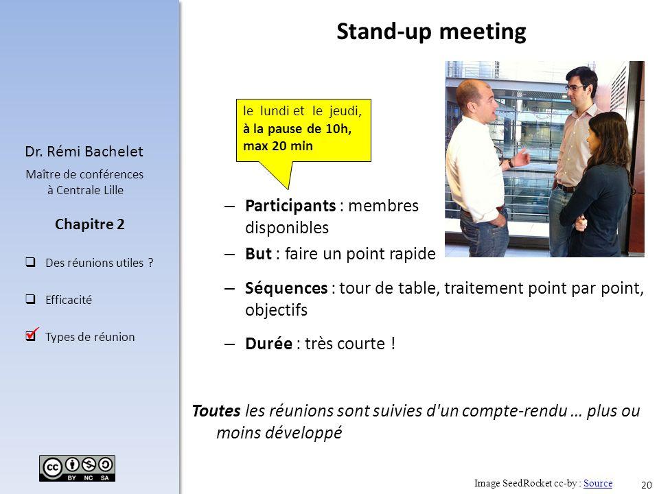 20 Dr. Rémi Bachelet Maître de conférences à Centrale Lille Des réunions utiles ? Efficacité Types de réunion Chapitre 2 – Séquences : tour de table,