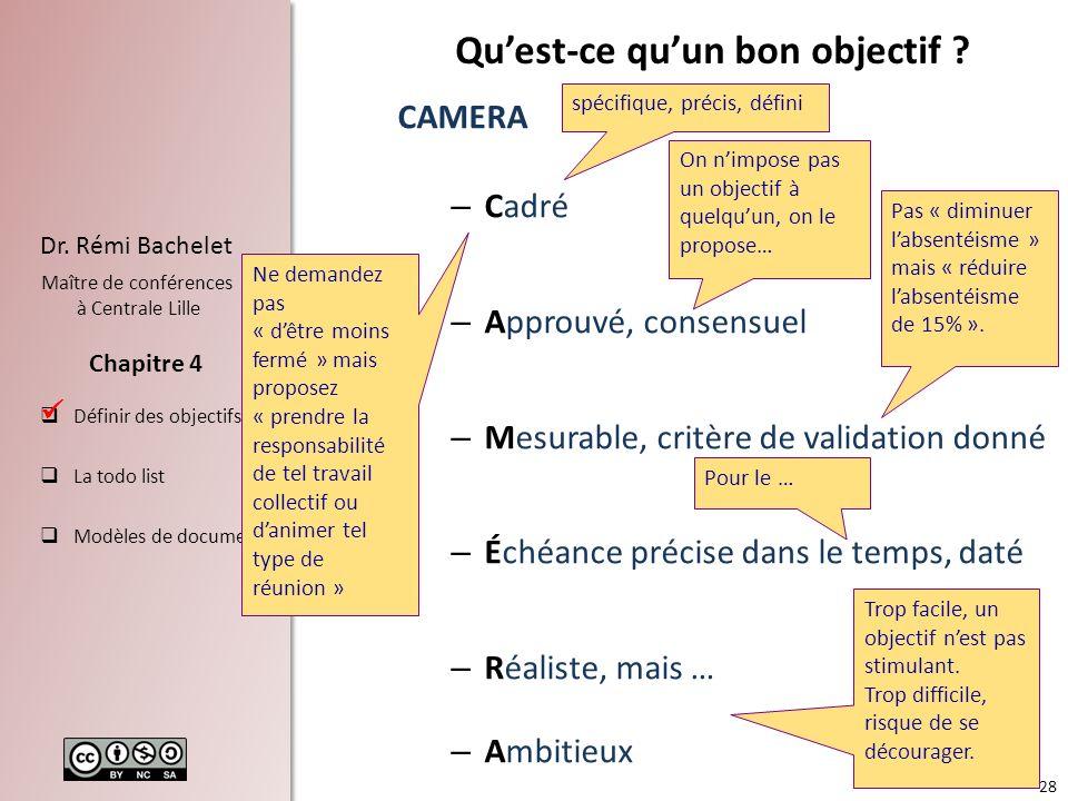 28 Dr. Rémi Bachelet Maître de conférences à Centrale Lille Définir des objectifs La todo list Modèles de documents Chapitre 4 Quest-ce quun bon objec