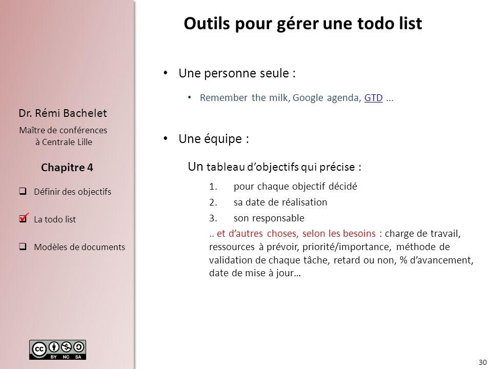 30 Dr. Rémi Bachelet Maître de conférences à Centrale Lille Définir des objectifs La todo list Modèles de documents Chapitre 4 Outils pour gérer une t