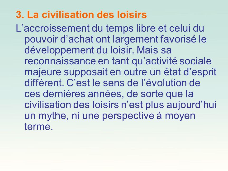 3. La civilisation des loisirs Laccroissement du temps libre et celui du pouvoir dachat ont largement favorisé le développement du loisir. Mais sa rec
