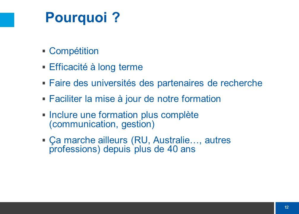 12 Pourquoi ? Compétition Efficacité à long terme Faire des universités des partenaires de recherche Faciliter la mise à jour de notre formation Inclu